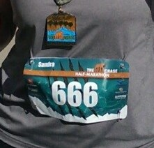 Check out the bib number. My first thought: It figures. My second thought? Guess I'm gonna have to run like the DEVIL!