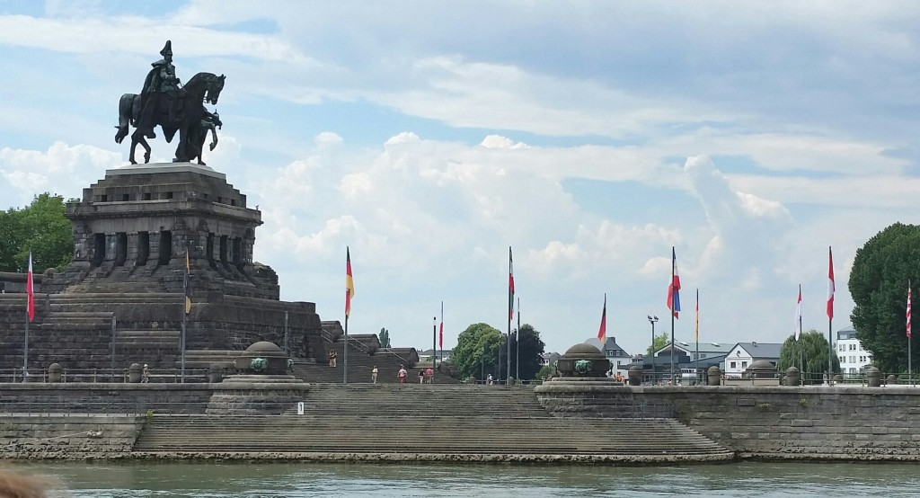 The Deutsches Eck, a monument to Kaiser Wilhelm, who unified the various German states into one German nation in 1871. This big memorial is situated at the confluence of the Rhine and Mosel rivers.