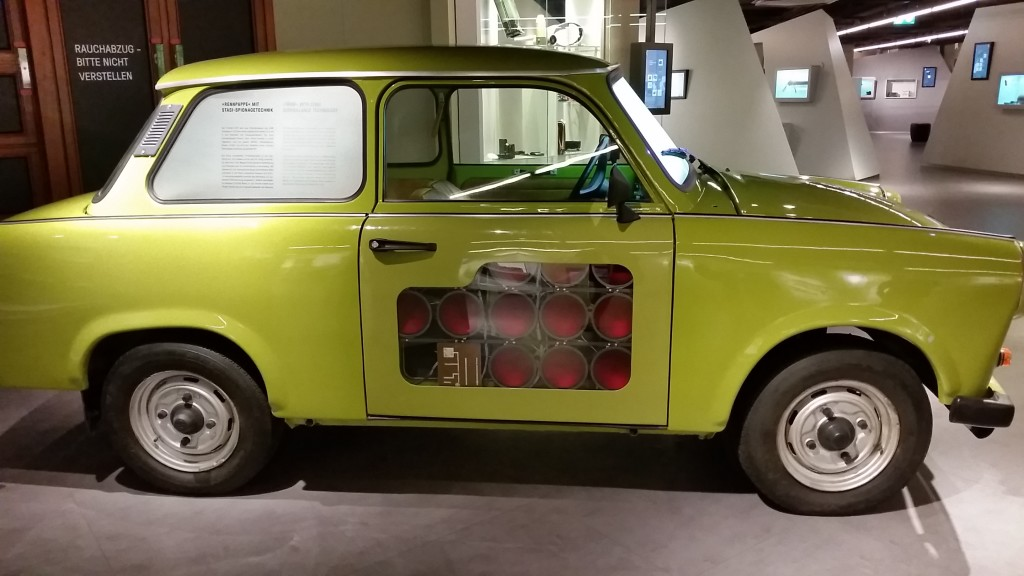 An actual Trabbi (the East German excuse for a car)...hard to believe people waited 20 years for such a POS. This one was a Stasi (the brutal State Police) vehicle, complete with licensing devices. Because communism is paranoid. Well, anything that goes against basic human rights usually is, am I right, Mr. Trump?
